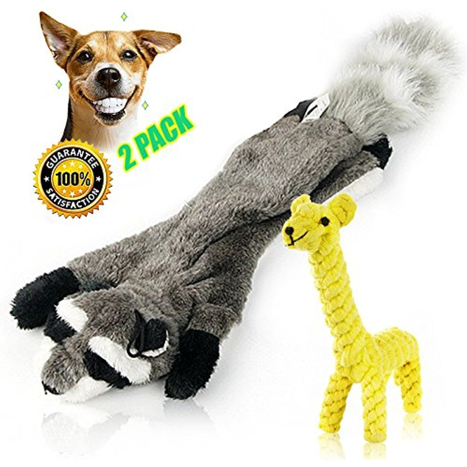 Skinny Peltz No Stuffing Raccoon Squeaky Plush Dog Toy and Giraffe ... | Dog Toys Without Stuffing