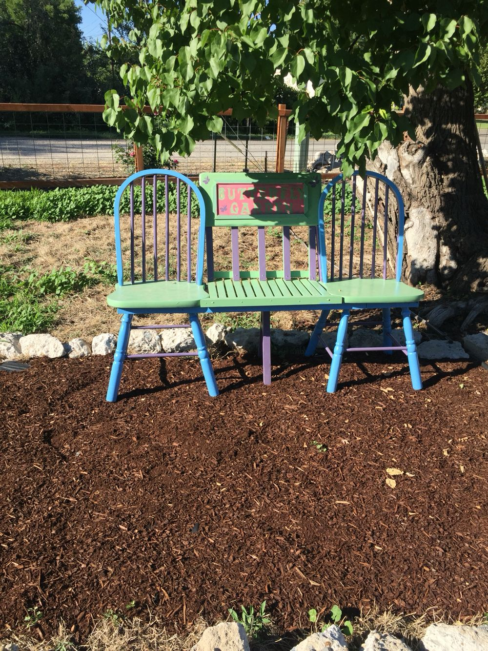 This is another bench I made for my flower garden from two old