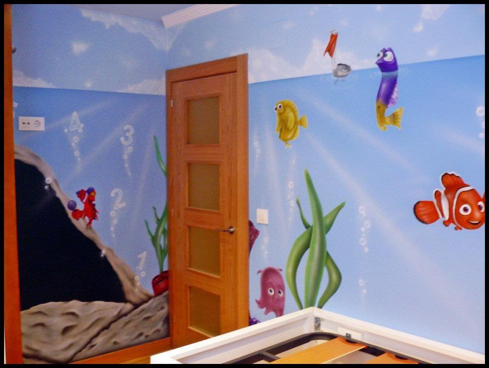 Dibujos en la pared de un dormitorio para un ni o - Dormitorios para ninos ...