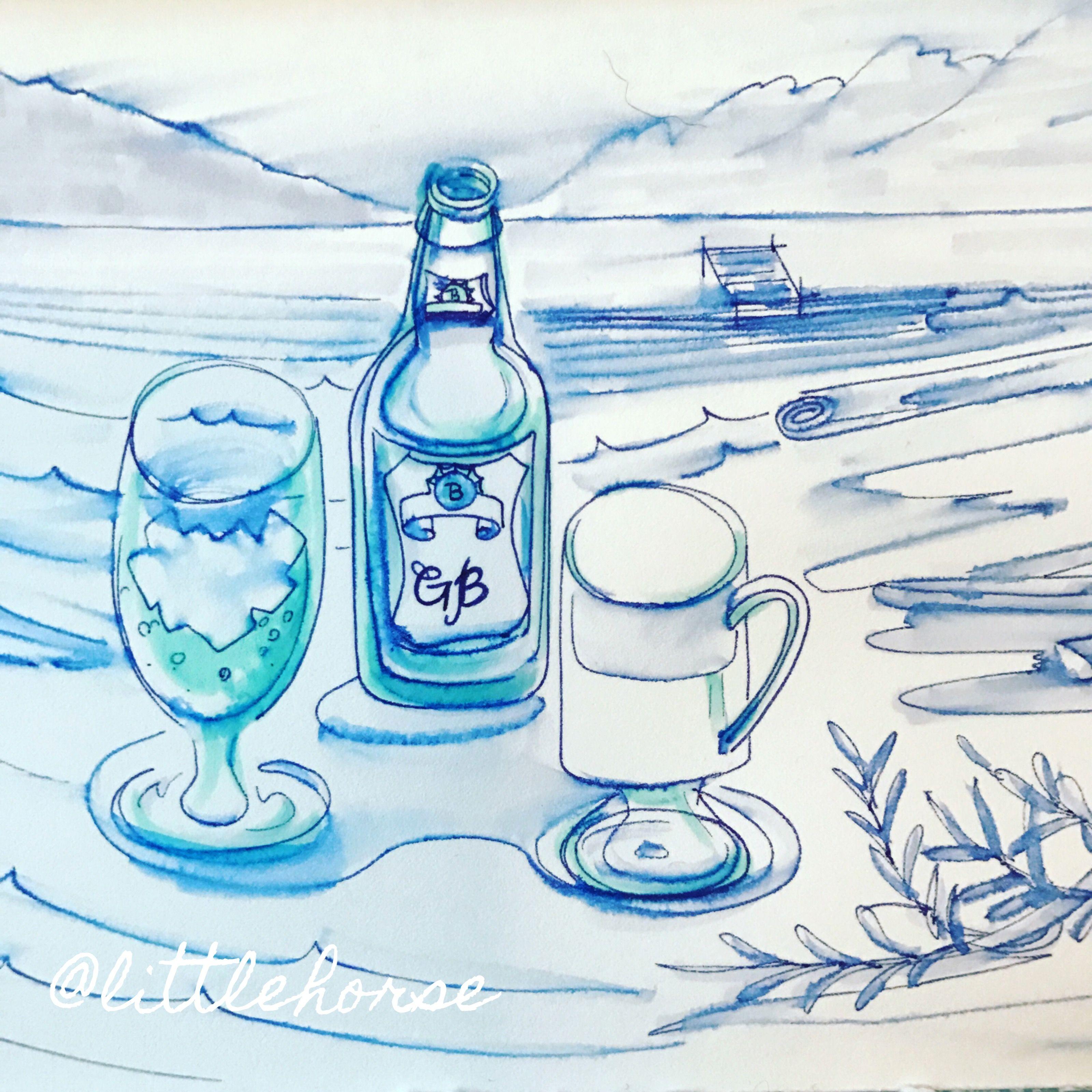 Ginger beer at lake side, illustration by Littlehorse.