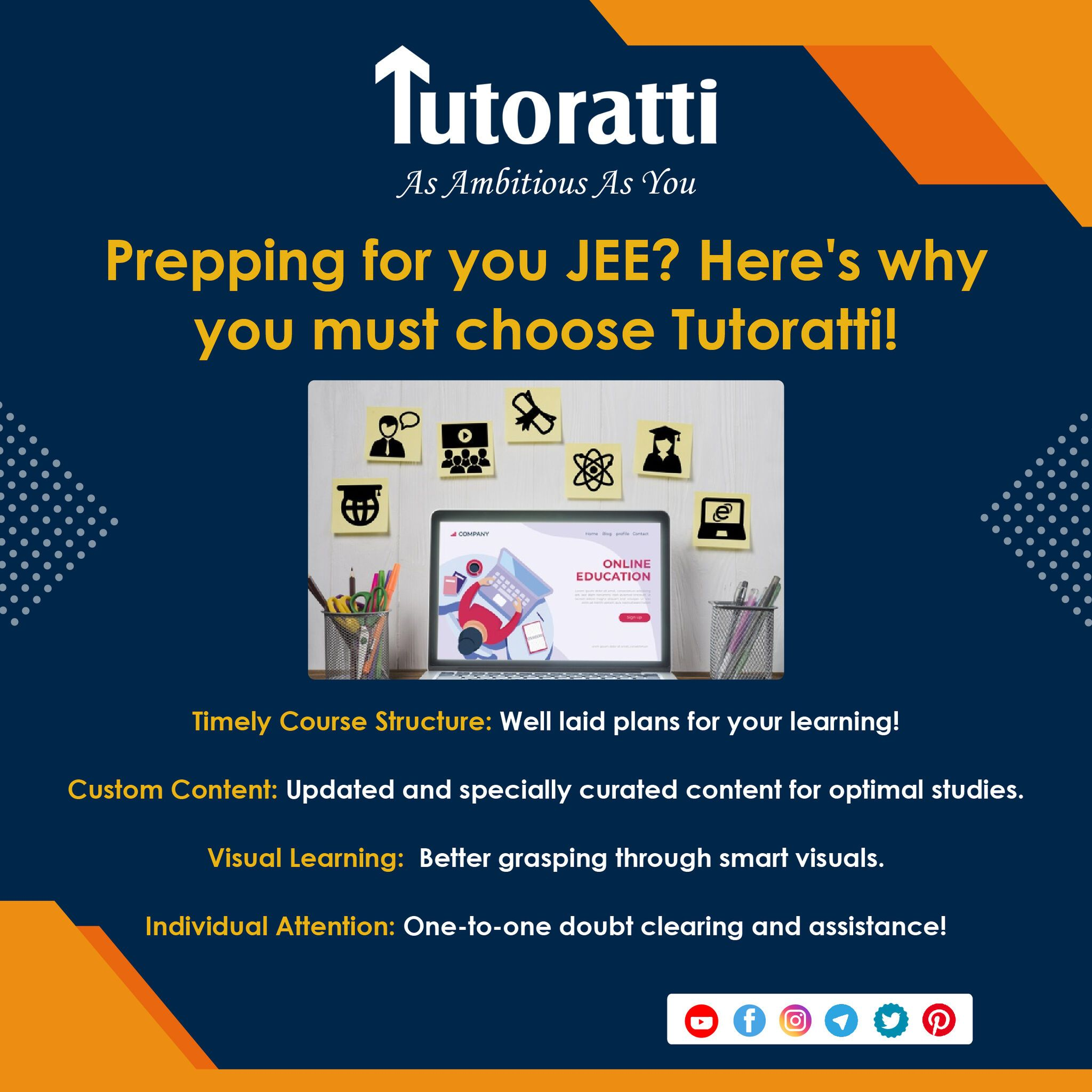 Prepping for you JEE? Here's why you must choose Tutoratti! 1. Timely Course Structure: well-laid plans for your learning! 2. Custom Content: Updated and specially curated content for optimal studies. 3. Visual Learning: better grasping through smart visuals. 4. Individual Attention: one-to-one doubt clearing and assistance! . . . . . #Pune #Tutoratti #OnlineLearning #LearningNeverStops #education #learning #onlineclasses #liveclasses #onlinestudy #onlineclass #onlineeducation