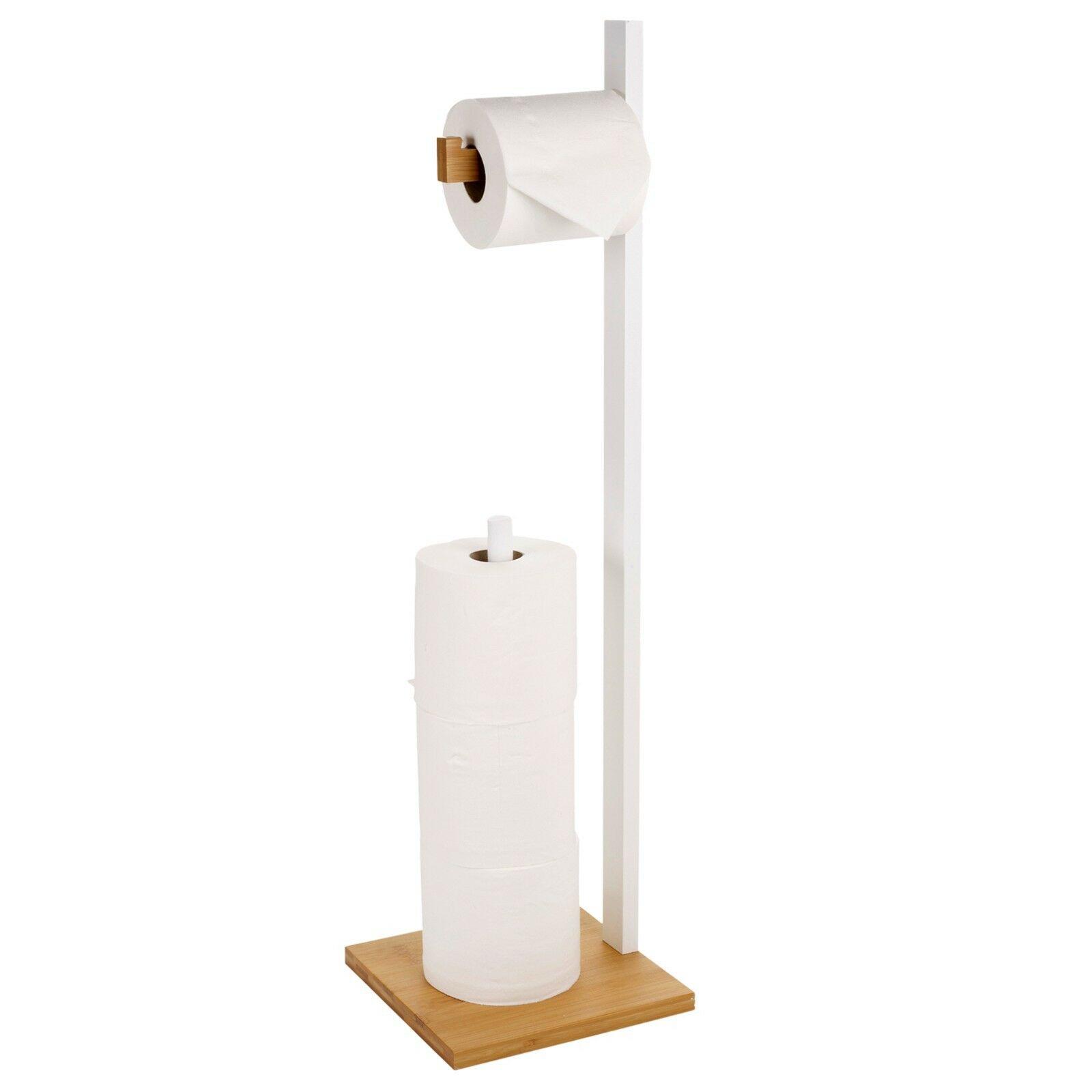 Free Standing Wooden Toilet Paper Roll Holder Tissue Dispenser