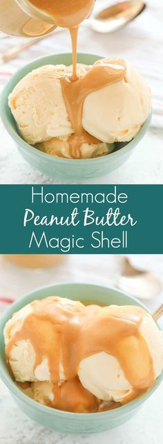 Easy Homemade Peanut Butter Magic Shell only requires three ingredients and a microwave. The perfect topping for almost any ice cream!