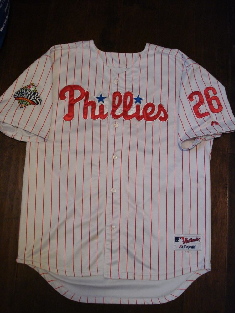 Majestic 2008 WORLD SERIES Philadelphia Phillies CHASE UTLEY SEWN Jersey   Majestic  PhiladelphiaPhillies bce276119ab
