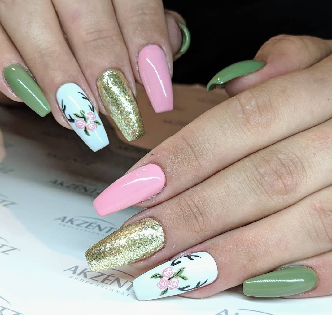 These Olive Green Blush Pink Gold Sparkle Gel Nails Are So Pretty And Perfect Spring Nails Topped Off With So Pink Gel Nails Olive Nails Green Nail Designs