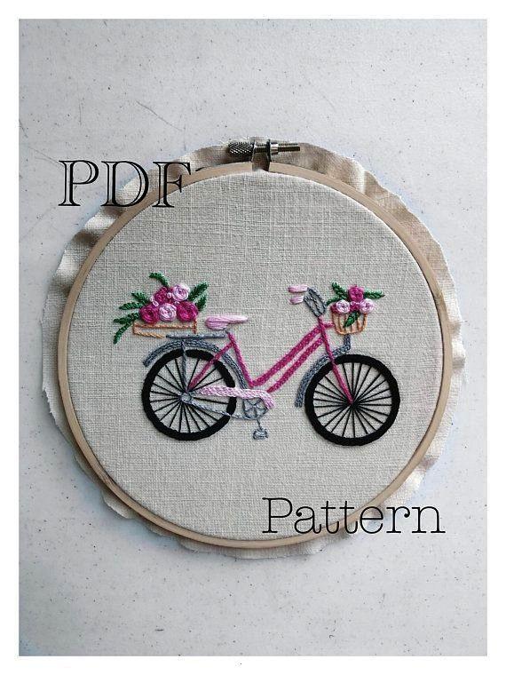 Hand Embroidery Bicycle Pattern Stitch Pattern PDF DIY Beginner Hand Embroidery Bicycle Pattern Stitch Pattern PDF DIY  Beginner Hand Embroidery Motocicle Pattern Stitch...