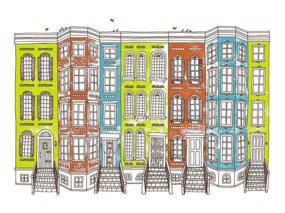 Row Houses -Limited edition screen print, 8x10 | House ...