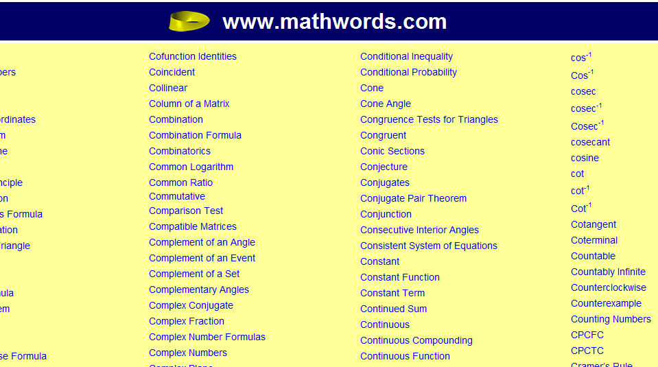 Mathwords Online Dictionary Http Www Mathwords Com C Htm The Mathwords Online Dictionary Provides Easy Math Words Conditional Probability Combination Formula