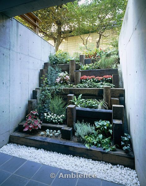 Tiered garden; idea if we live in a city | Planten, Tuin ... on Tiered Yard Ideas  id=18091