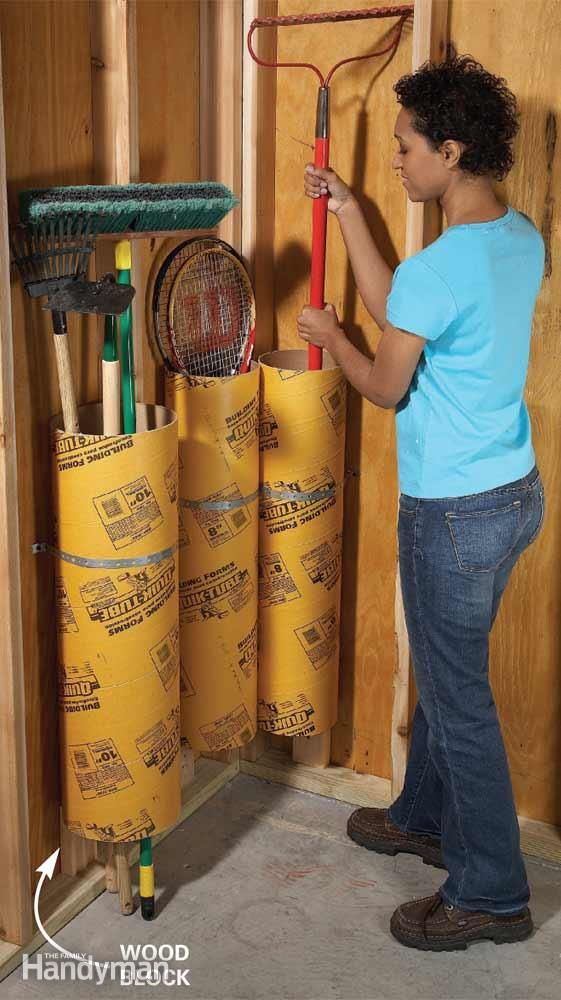 Garage Storage Cardboard Concrete Forming S Are Inexpensive 7 At Any Home Center And Provide A Great Place To Baseball Bats Long Handled Tools