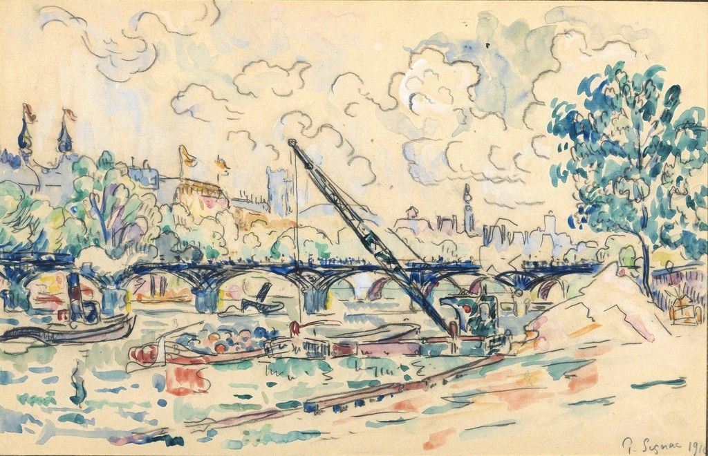 Paul Victor Jules Signac (1863 – 1935) Le Pont des Arts, Eté, 1910 Watercolour and pencil on paper 10 1/5 × 16 1/10 in 26 × 40.9 cm