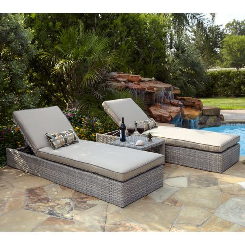 Lako 3 Piece Chaise Set Sunbrella Cushions 1000