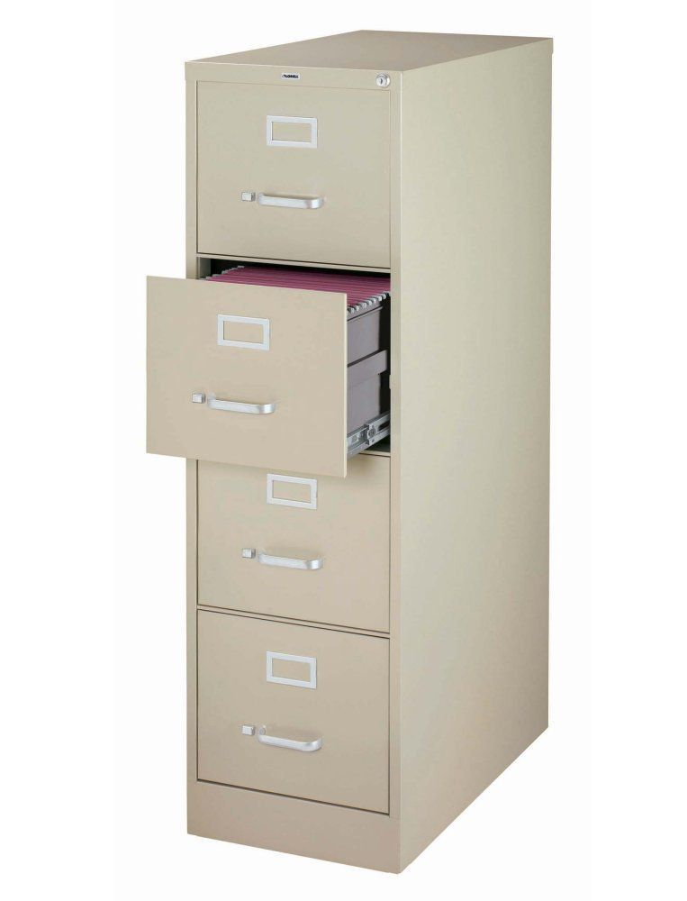 Lorell 60193 4 Drawer Putty Vertical File With Lock Filing