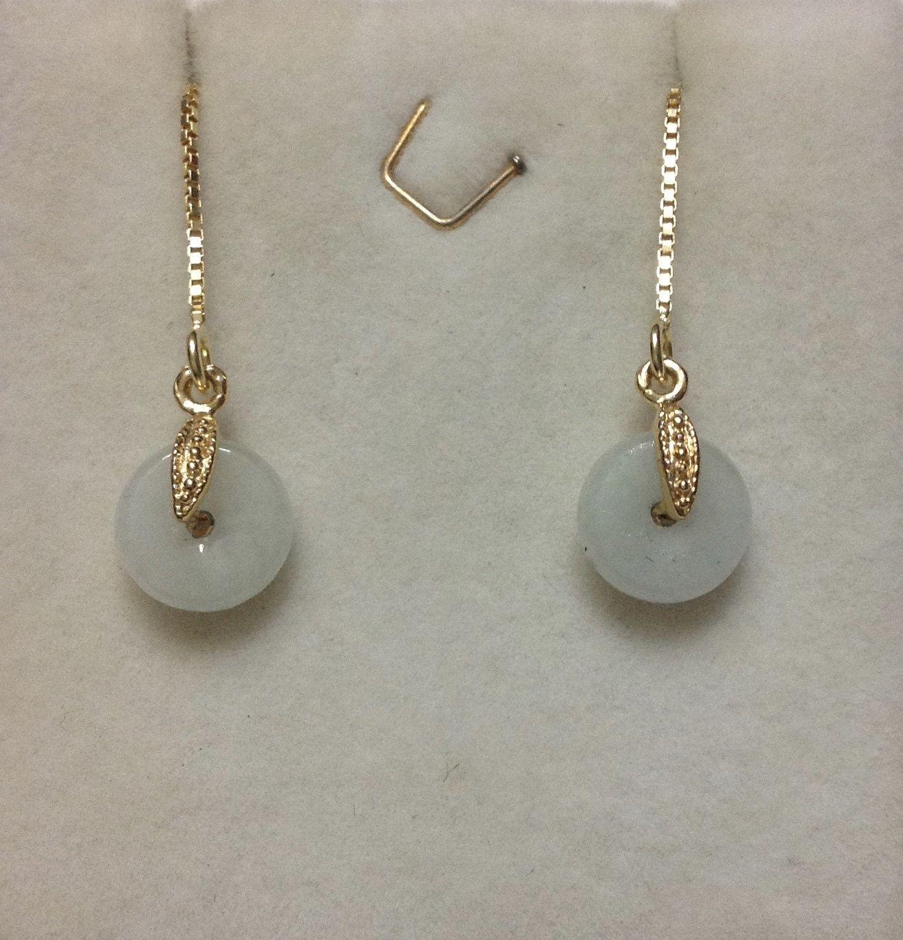 Genuine Icy Jade Earrings, Dainty Jade Earrings, Gold Threader Earrings,  Gold Jade Earrings