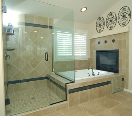 2 sided fireplace with jetted tub...I want a corner tub and I want ...
