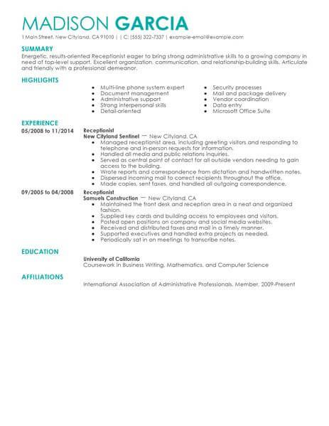 Receptionist Receptionist, Resume examples and Template