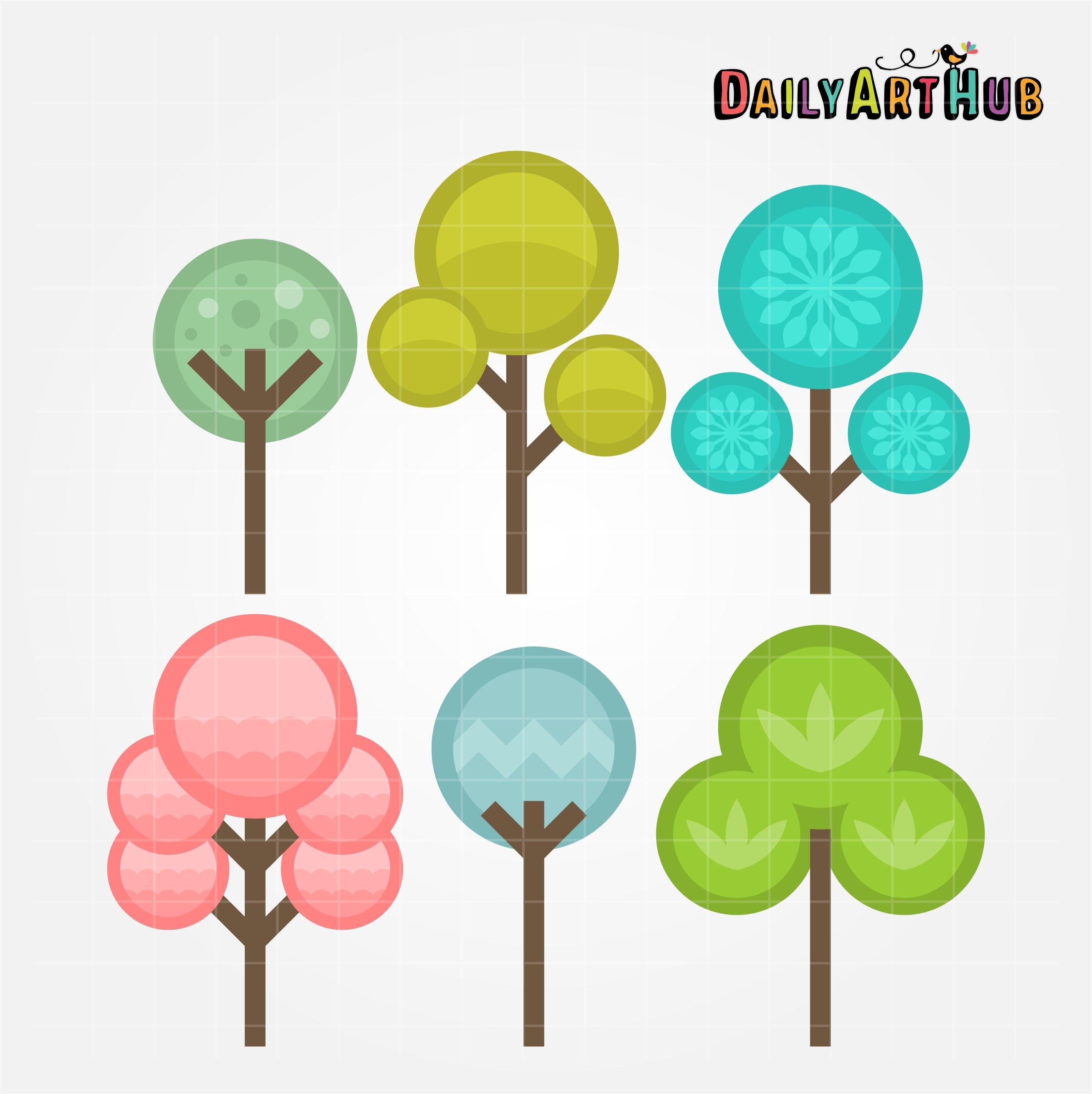 Circle Trees Clip Art Set Daily Art Hub Free Clip Art Everyday Clip Art Art Set Art Hub