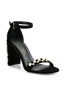 Stuart Weitzman - Morepearls Studded Suede Ankle Strap Sandals
