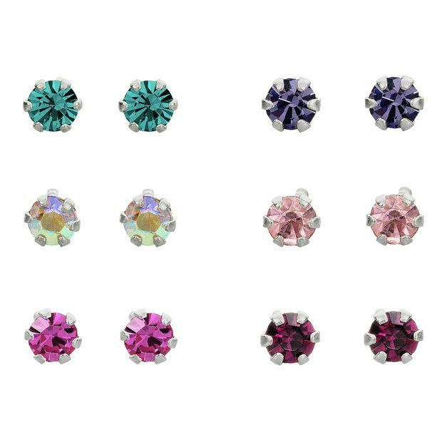 ed3f0041c Buy Revere Sterling Silver Crystal Stud Earrings - Set of 6 at Argos.  Thousands of products for same day delivery £3.95, or fast store collection.