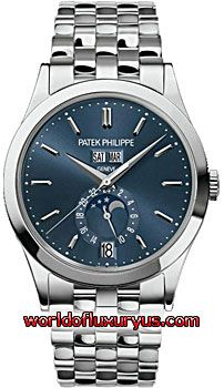 5396/1G - This Patek Philippe Annual Calendar Mens Watch, 5396/1G-001 features 38 mm 18k White Gold case, Blue dial, Sapphire crystal, Fixed bezel, and a 18k White Gold bracelet. Patek Philippe Annual Calendar Mens Watch, 5396/1G-001 also features Mechanical, Self-winding Movement, Analog display, Date at 6 o'clock. This watch is water resistant up to 25m / 82ft. - See more at…