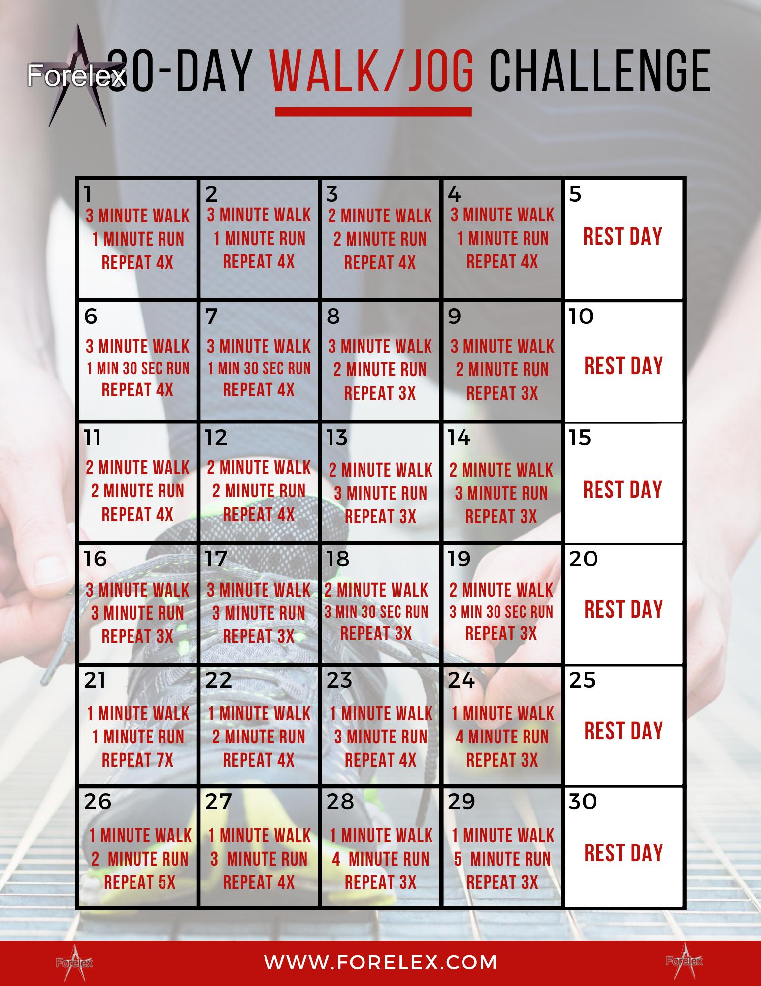 30 Day Challenge Walk Jog 30 Day Arm Challenge 30 Day Running Challenge 30 Day Arm