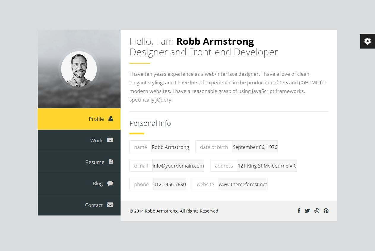 Premium Layers: Wordpress vCard & Resume Theme   Live Preview and ...