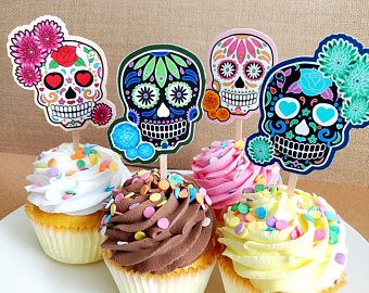 Sugar Skull Cupcake Toppers Day Of The Dead Dia De Muertos Party