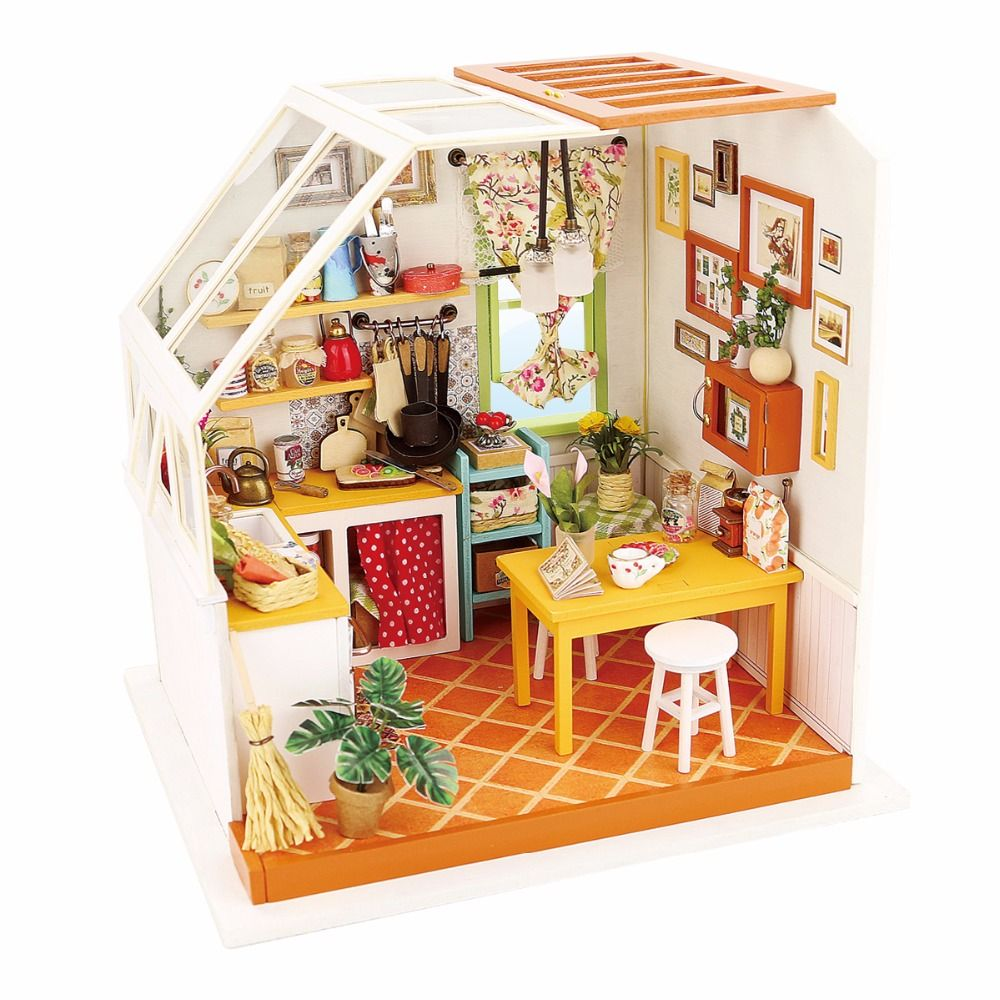 Esszimmer Puppenstube 1pcs Happy Series Diy Wooden Doll House Room Box Handmade 3d