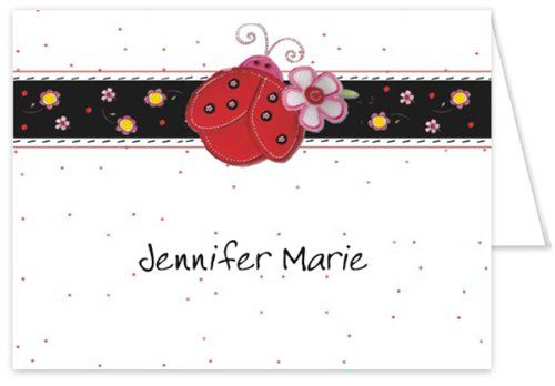"""#Baby Thank You Cards: This fold-over note card, """"Sweet Little #Ladybug"""" features a bright red ladybug, next to a pink and white flower centered on a black horizo..."""