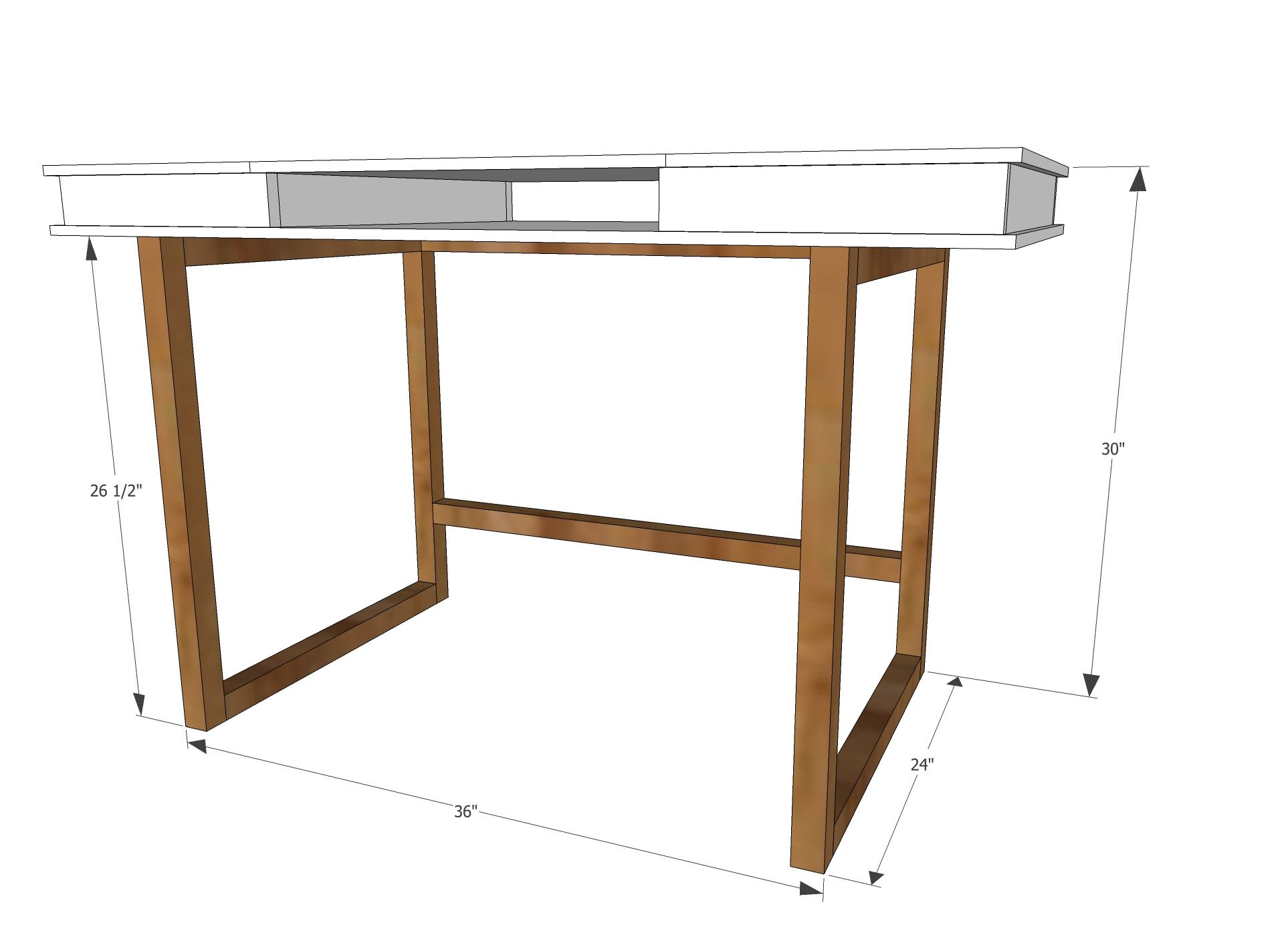Easy Table Plans Ana White Build A Modern 2x2 Desk Base For Build Your Own Study