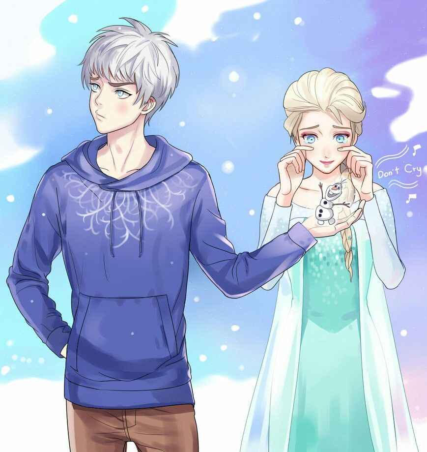 Jack X Elsa Rise Of The Guardians And Frozen Mash Artwork With