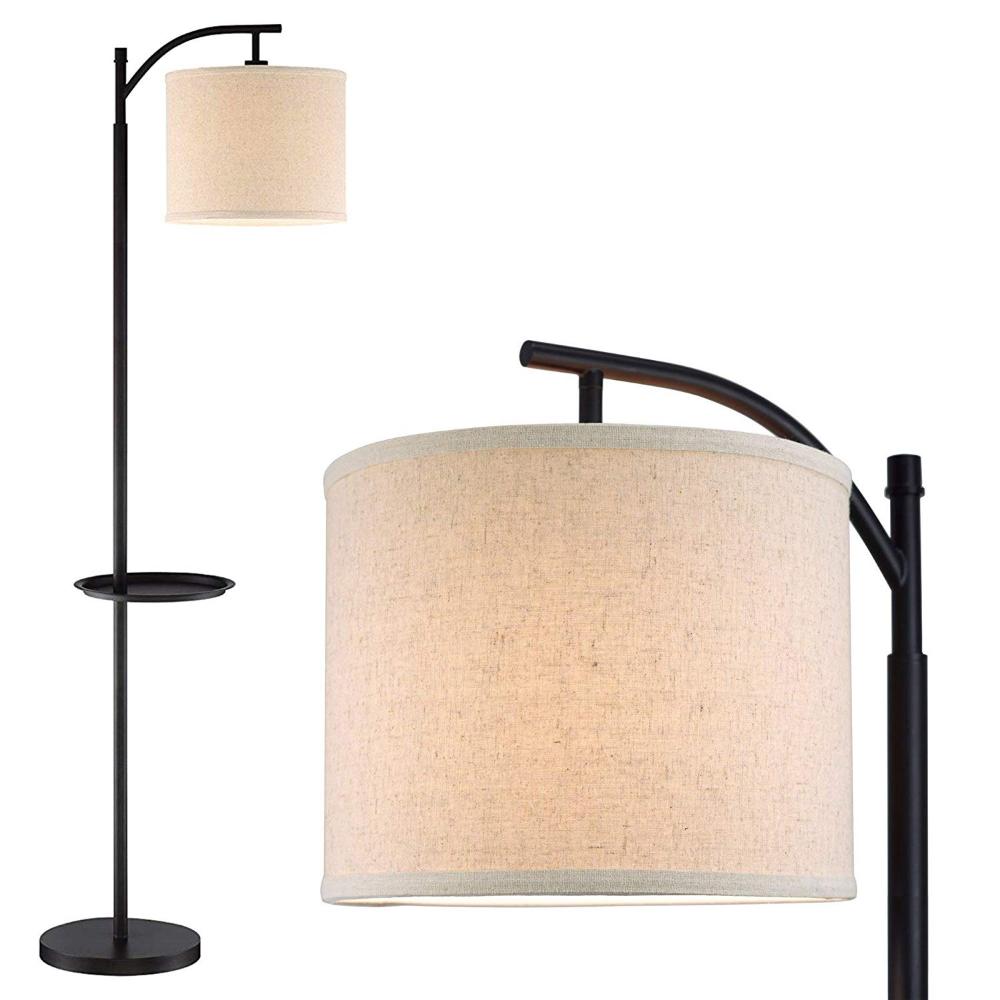 Kira Home York 63 Minimalist Tray Led Floor Lamp 7w Led Energy Efficient Eco Friendly Honey Beige S In 2020 Hanging Lamp Shade Floor Lamp With Shelves Floor Lamp