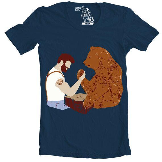Mens Arm Wrestling T-Shirt Men's Tee Beard vs. by sharpshirter