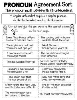 Pronoun Antecedent Agreement Sort Subject Verb Agreement