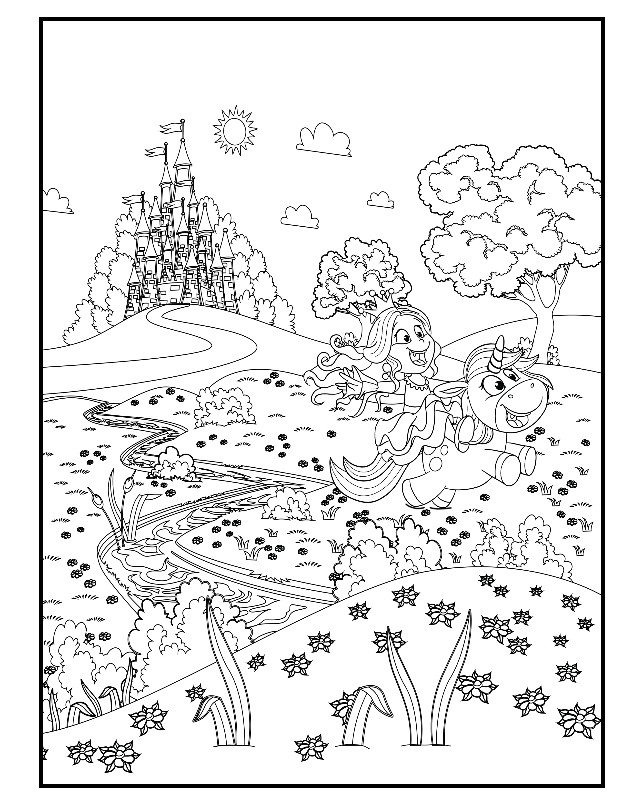 Princess With A Unicorn Playing In The Meadow Unicorn Coloring Book For Kids Image 2 Fairy Coloring Book Coloring Books Princess Coloring Pages
