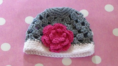 crochet grey/white and pink beanie  www.marysdaughters.etsy.com