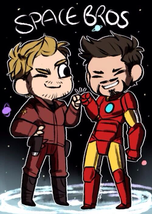 Peter Quill and Tony Stark: SPACE BROS // Oh the sass-filled future