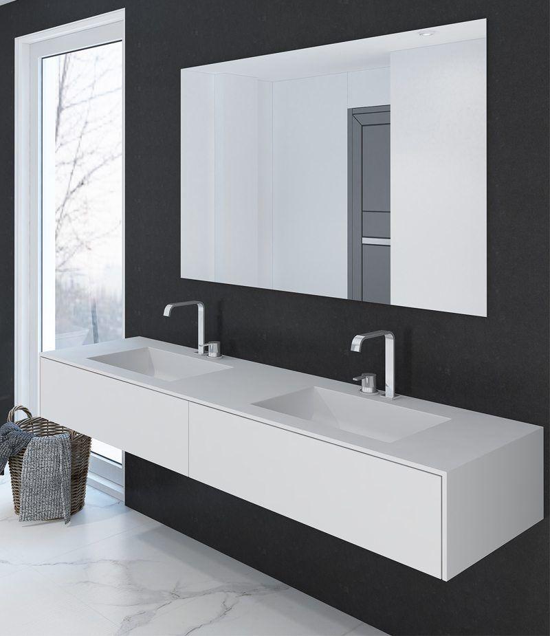 Damit der Badspiegel passend zur Waschtischanlage von Alape unter - badezimmerspiegel mit led
