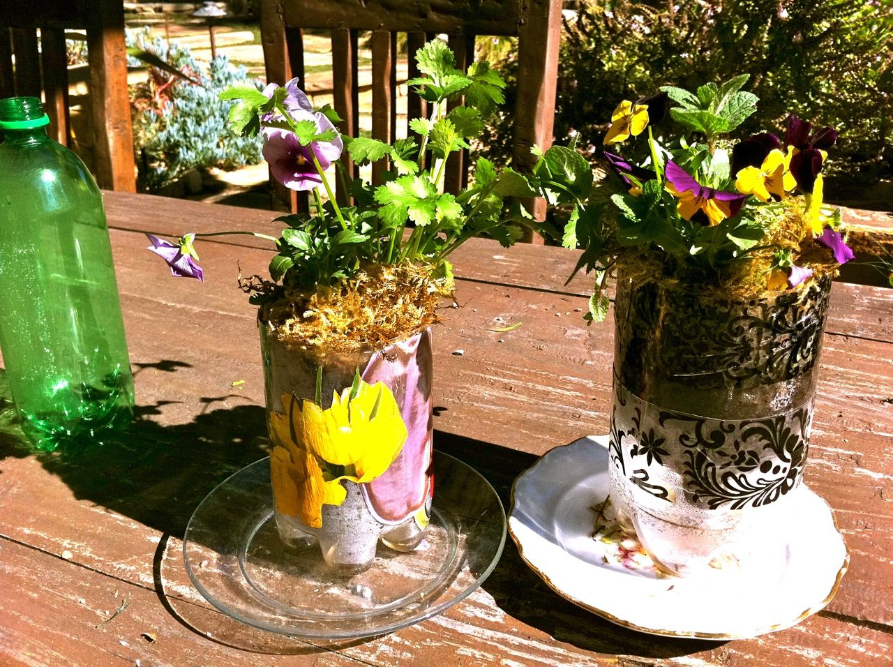 Self watering planters made from repurposed plastic soda for Recycled garden ideas images