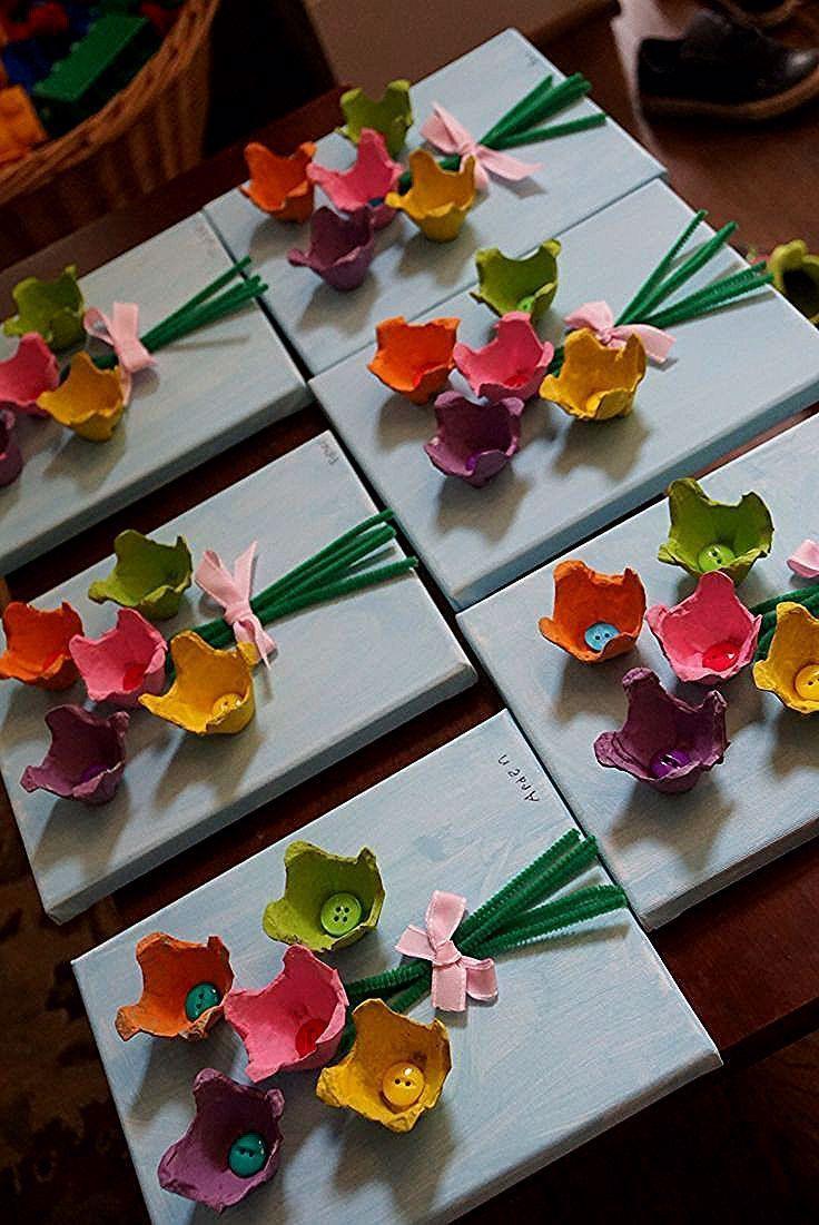 Photo of Painted flowers on canvas M BD 7yo Blumen, Blumenstrauss basteln aus Eierkarton…. – Judith&Vatertag – Sahra&Vatertag