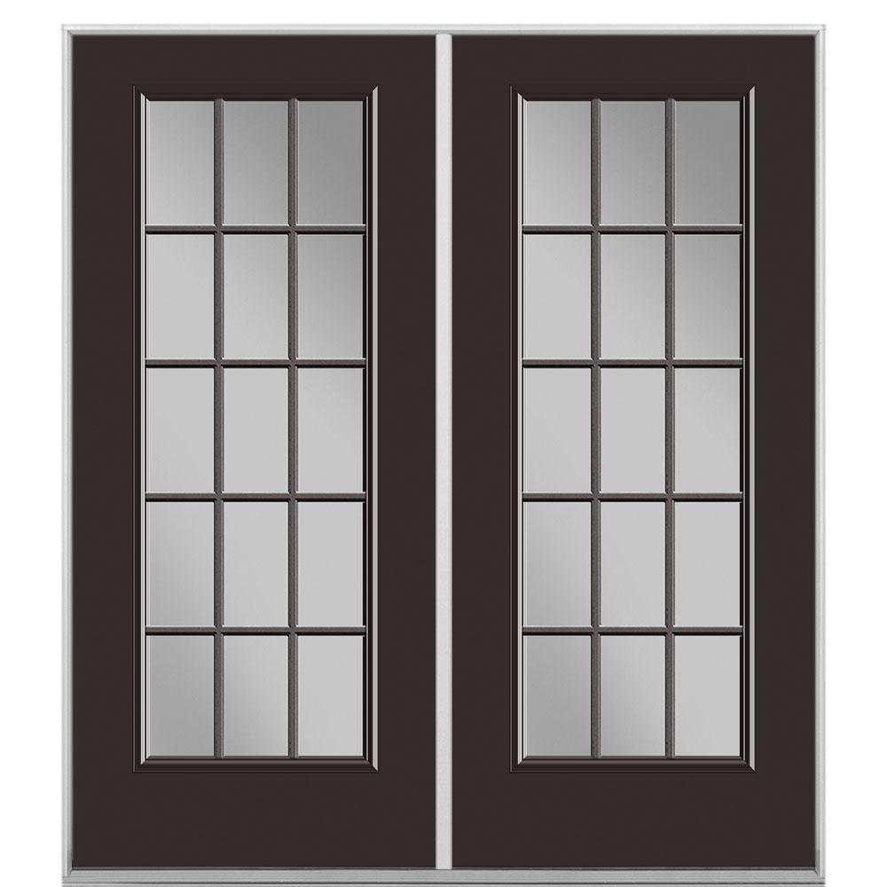 Masonite 60 In X 80 In Willow Wood Prehung Right Hand Inswing 15 Lite Steel Patio Door With No Brickmold In Vinyl Frame Patio Doors Door Design Interior Vinyl Frames