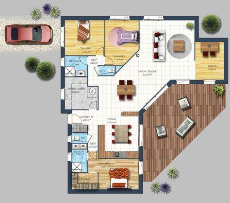 plan maison 3D - maison moderne Mahé Plans maisons Pinterest