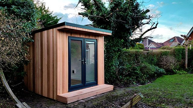 small garden office pod by garden fortress small garden