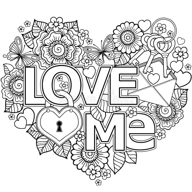 I Love You Heart Shaped Abstract Background Made Of Flowers Cups Butterflies Aff Abstract Love Coloring Pages Heart Coloring Pages Star Coloring Pages