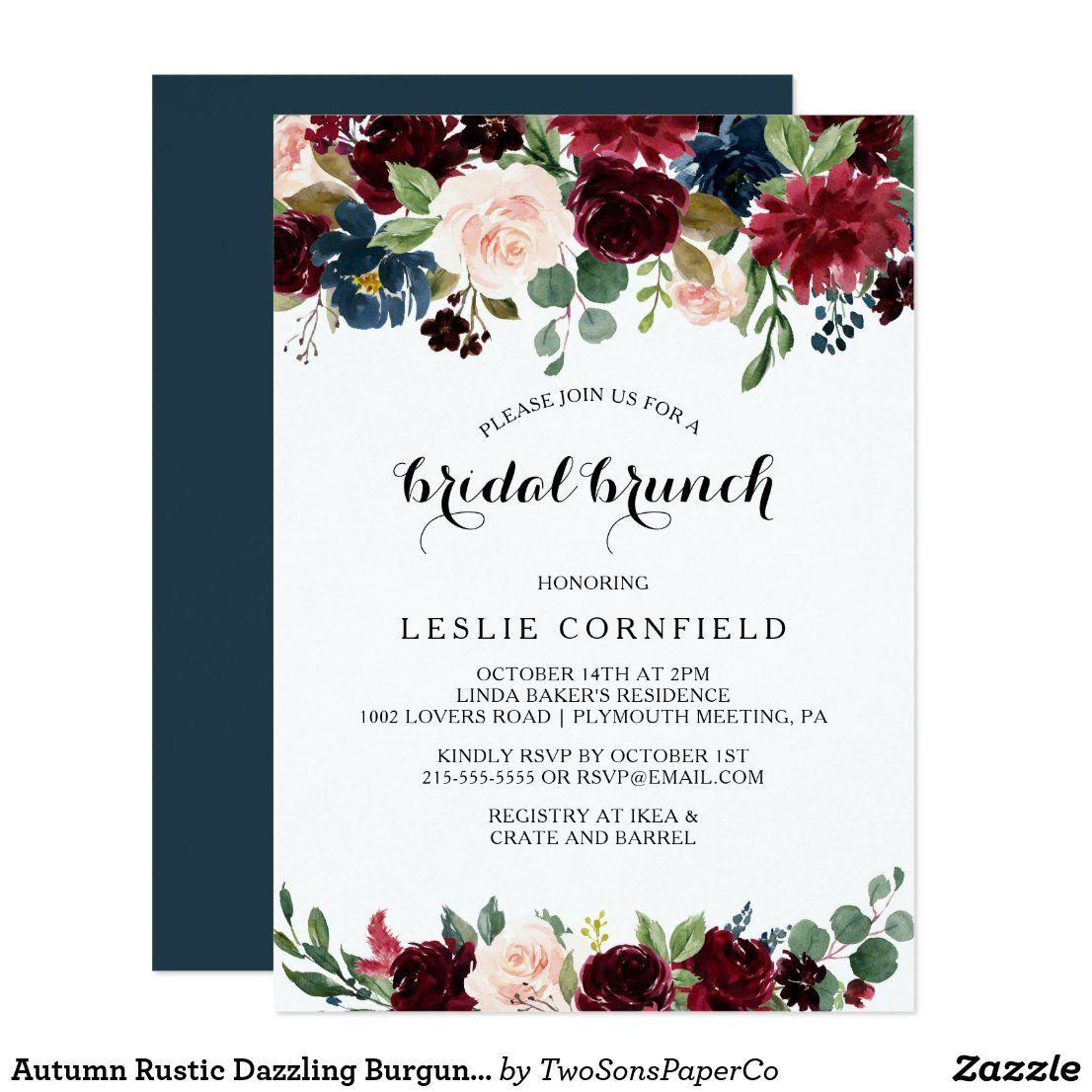 Autumn Rustic Dazzling Burgundy Bridal Brunch Invitation