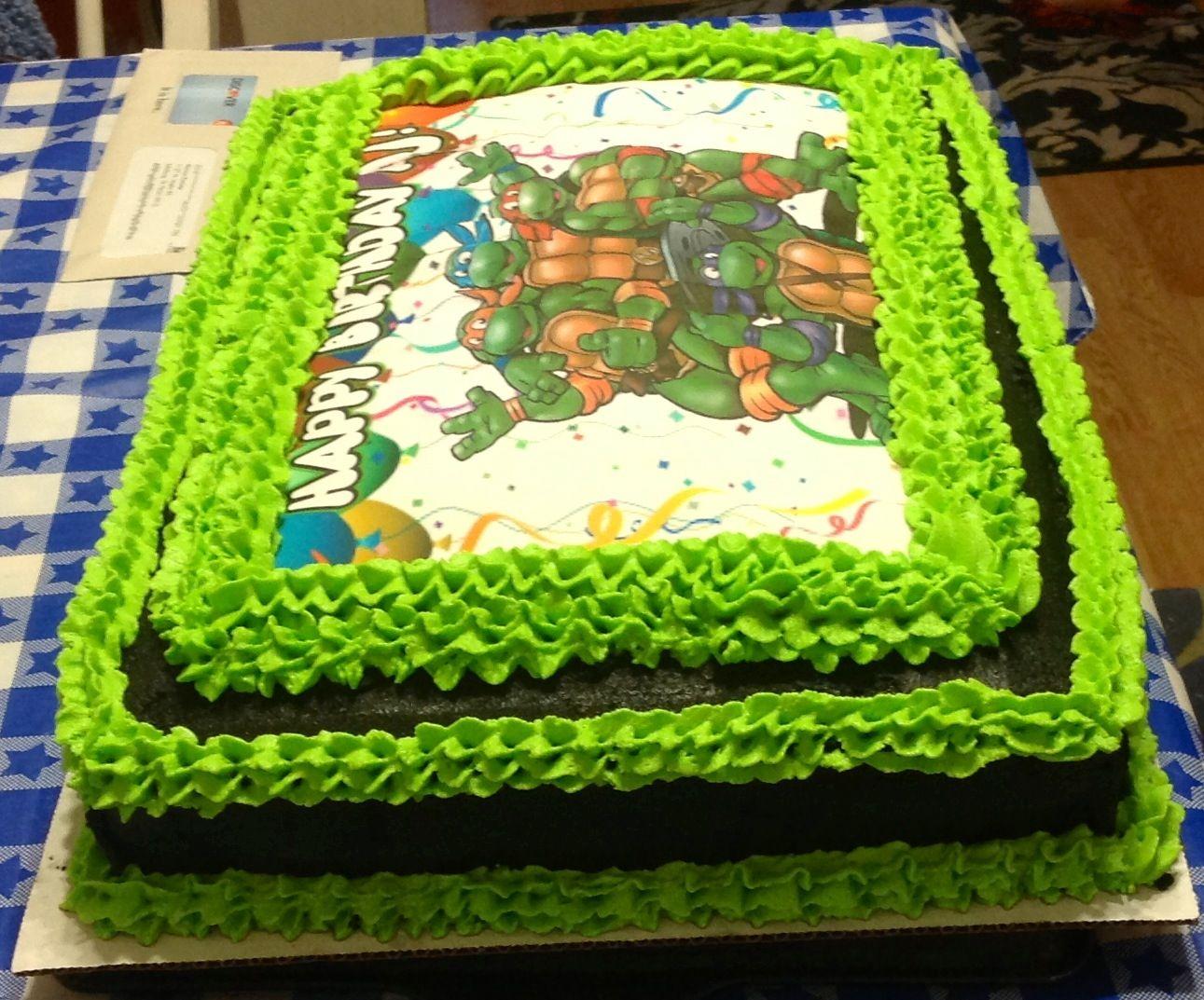 Different angle of Ninja Turtle Buttercream Sheet cake ...