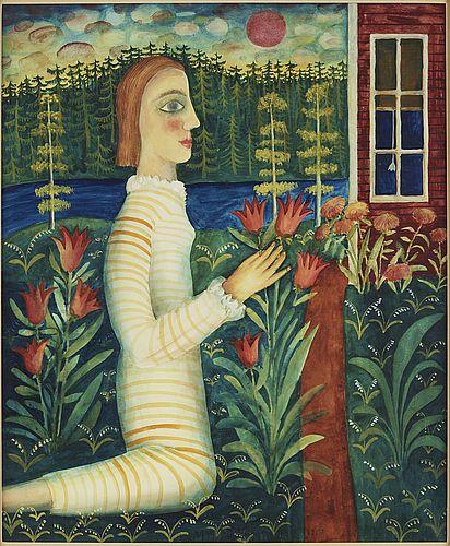 Mårten Andersson: Den vackra flickan, 1958, akvarell med täckvitt på papper, 44,5x 37 cm - Bukowskis Market 11/2016