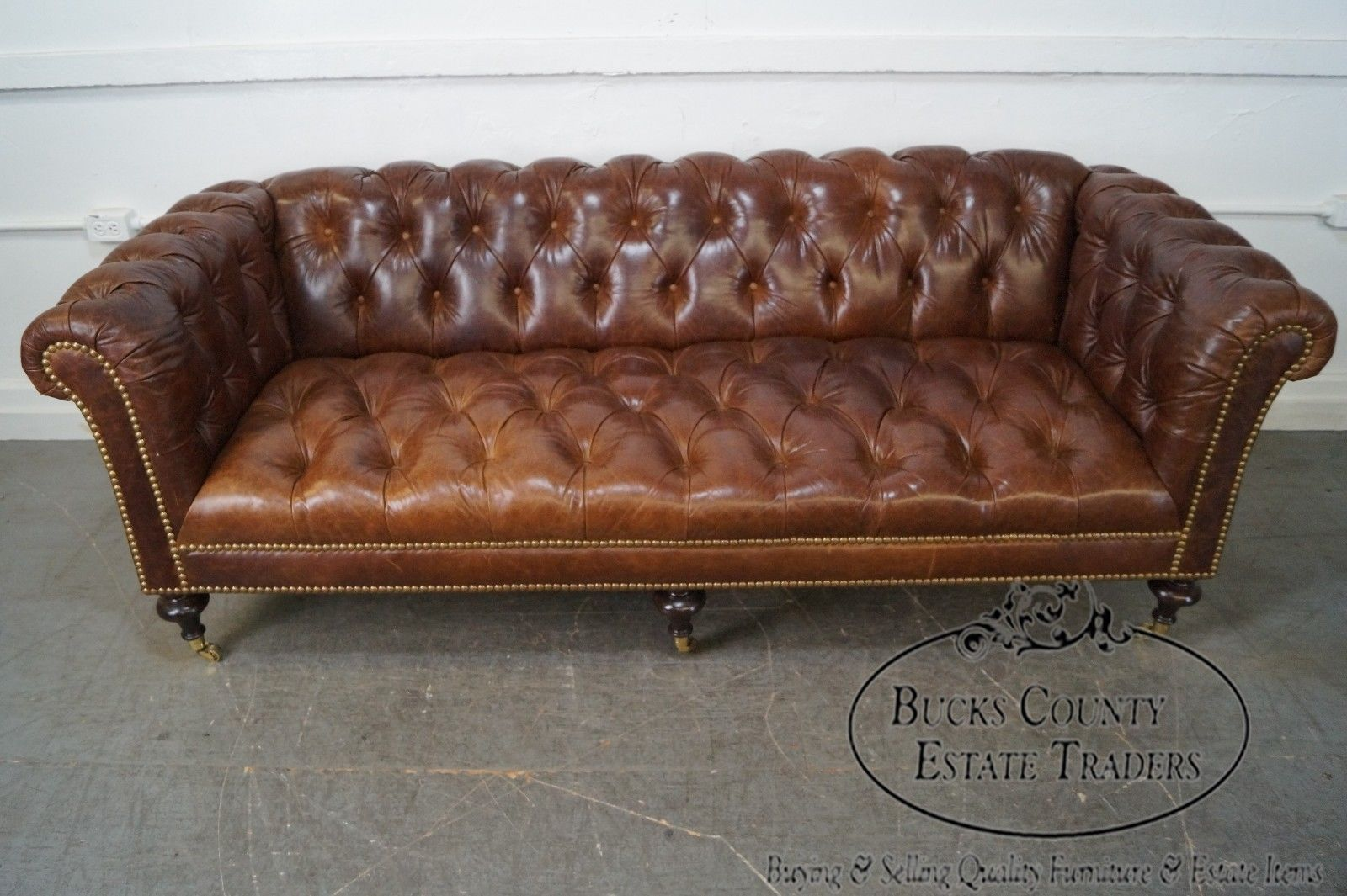 Quality Brown Tufted Leather Chesterfield Sofa Possibly Ralph