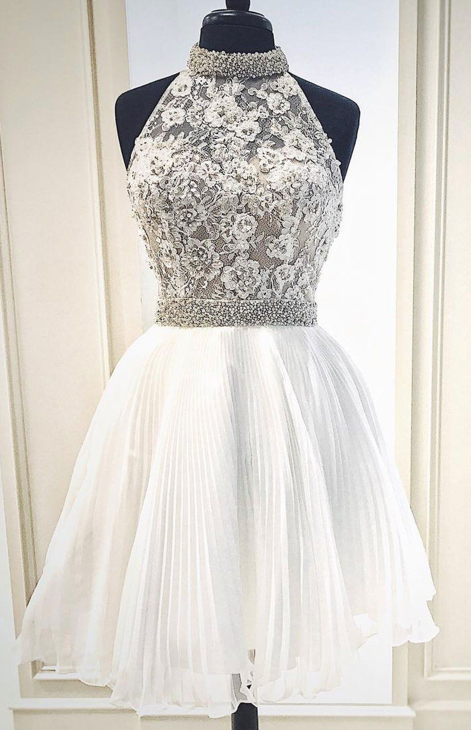 Aline round neck short white homecoming dress with beading