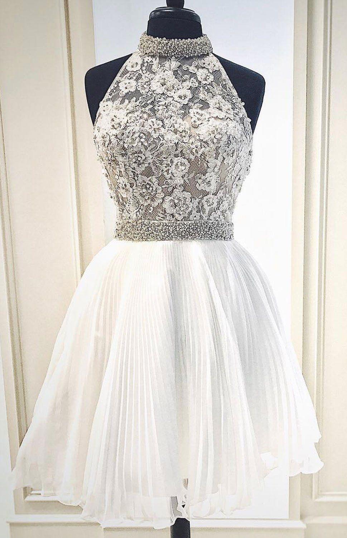 Aline round neck short white homecoming dress with beading